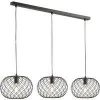 Justin pendant light with three woven lampshades
