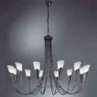 Twelve bulb black copper chandelier CAMPAGNOLA