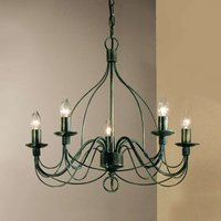 Antique green five bulb chandelier FILO