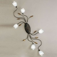 Floral ceiling light CAMPANA six bulb