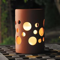 New Genova LED solar light  cylinder  terracotta