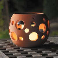 New Genova LED solar light  sphere  terracotta