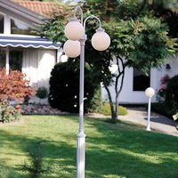 Arcturus post light  spherical lampshades  3 bulb