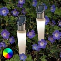 RGB LED solar ground spike light Assisi set of 2