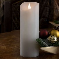Features a 3D flame   LED real wax candle