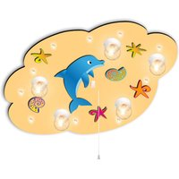 Light orange kids  ceiling light Cloud w  dolphin