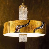 Gold plated crystal hanging light Emozione Kiss