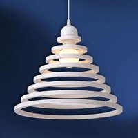 Wood shade with white rings   Tora hanging light