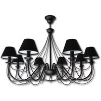 Black chandelier Bona with fabric lampshades