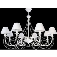Bona   white chandelier with fabric lampshades