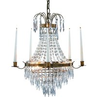 Pretty candle chandelier Krageholm  antique brass