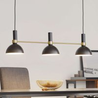 Three bulb Larry hanging lamp in black and brass