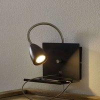 Logi wall light with shelf  black
