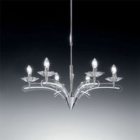 Chandelier ICARO with crystal glass 6 bulb  chrome