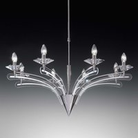 Chandelier ICARO with crystal glass 8 bulb  chrome