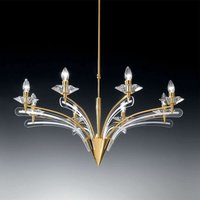 Chandelier ICARO with crystal glass 8 bulb  gold