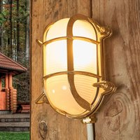 Oval outdoor wall light Bengt brass