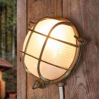 Round outdoor wall light Bengt antique brass