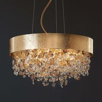 Pendant light Ola with glass hanging and gold leaf