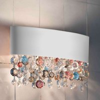 White wall light Ola with glass hanging  50 cm