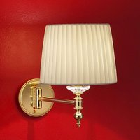 Grace brass wall light with a silk lampshade 34 cm