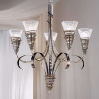 Silver coloured chandelier SIBERIA
