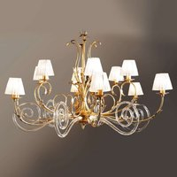 Corinto gold plated chandelier with Murano glass