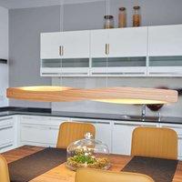 Lian LED hanging light with wood veneer