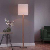 Lucande Elif floor lamp white  angular natural oak