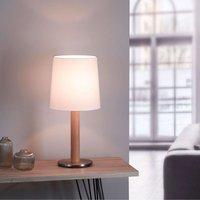 Lucande Elif white table lamp cylinder natural oak