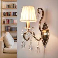 Wall lamp Estelle with a pleated satin lampshade
