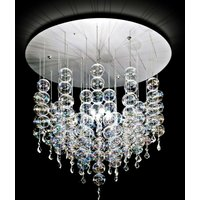 Soap hanging light with elegant glass spheres