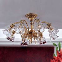 Kaisa glossy gold ceiling light with 8 bulbs