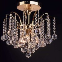 Lennarda ceiling light  crystal   gold 42 cm