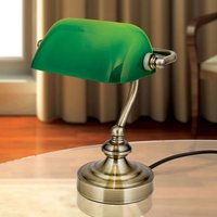 Zora   banker s table lamp  green glass lampshade
