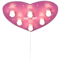 Pink ceiling lamp HERZ with LED night light