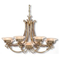 9 bulb chandelier Evita in brass finish