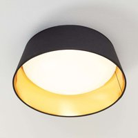 Black and gold Ponts fabric ceiling lamp with LEDs