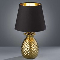 Pineapple ceramic table lamp  black and gold