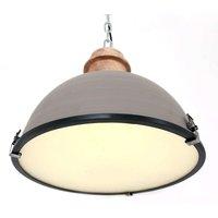 Grey hanging light Bikkel with metal lampshade