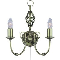 Zanzibar wall light  two bulb  antique brass