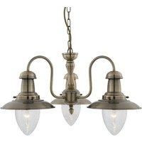 Fisherman hanging light  three bulb  antique brass