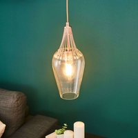 Whisk hanging light  glass shade and copper detail