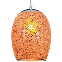 Hanging lamp Crackle in chrome and orange