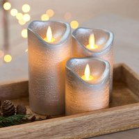 Sara LED candle 3 silver   7cm height 10 12 5 15cm