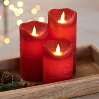 Sara LED candle  3  red   7cm height 10 12 5 15cm