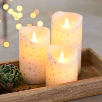 Sara LED candle 3 romantic white gold 10 15cm high