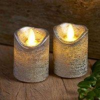 Sara Mini LED candle  2  silver    5cm  height 7cm
