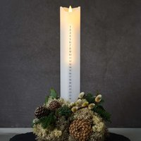 Sara Calendar LED candle white silver height 29 cm