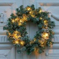 Anton LED wreath  timer  green  snow decoration